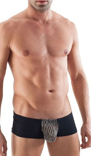 GERONIMO Mens Underwear Square Cut Black Boxer,See Through Bulge Pouch 1355b2